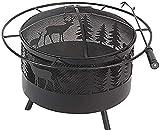 Außenkamin Feuer-Feuer-Elchkamin Für Draußen Mit Rundem Funkenschutz Kaminschürhaken Und Metallgitter Schwarz