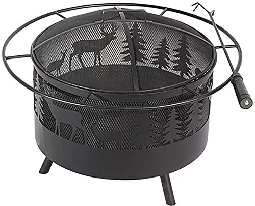 XYSQWZ Outdoor Fireplace Fire Fire Elk Fireplace For The Outside With Round Spark Protection Grille Fireplace Hook And Black Metal Grille