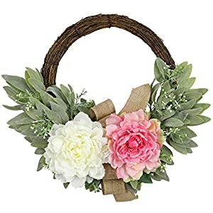 Artificial White Peony Flower and Sage Wreath for Wedding Party Backdrop Decor 17 inches Pink Green Leaf Wreath – Ideal Spring & Summer Decorating for Indoor & Outdoor Use