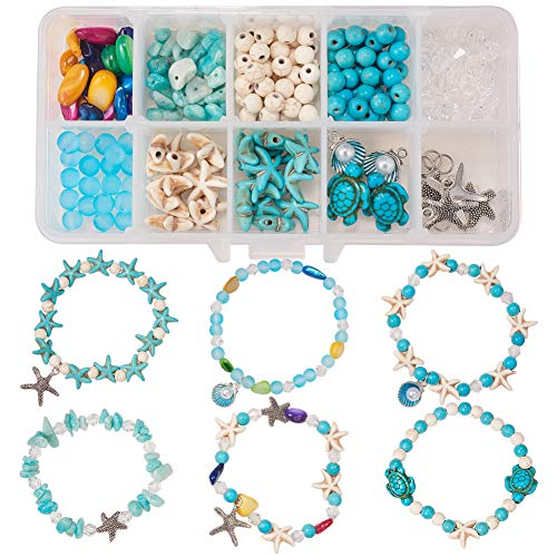 SUNNYCLUE 1 Box DIY 6Pcs Boho Shell Beads Beach Charm Ankle Bracelet Making Kit Foot Chain Sandal Beads Anklets Adjustable Foot Jewelry Making with Starfish Sea Shell Charms Turquoise Stone