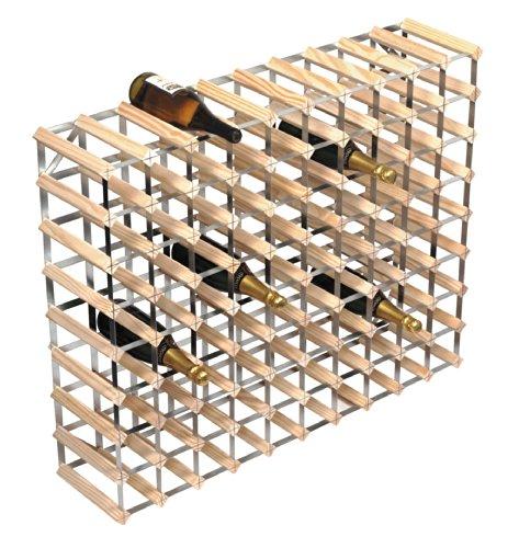 RTA 90 Bottle Wine Rack 10x8 Natural Pine Galvanised Steel Ready Assembled - WNRK4022