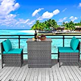 3 Piece Outdoor PE Rattan Furniture Bistro Set Patio Wicker Conversation Chair with Glass Top Table Space Saving Design, Turquoise Cushion