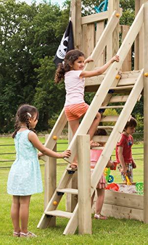Gartenwelt Riegelsberger Premium Treppe mit Handlauf für kleine Kinder Holztreppe für Spielhaus Spielturm TÜV geprüft Podesthöhe 120 cm, sibirische Lärche Natur