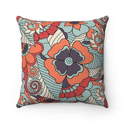 Fundas de almohada y almohadas decorativas con patrones florales, fundas de almohada con cierre de cremallera oculto, para sofá, banco, cama, decoración del hogar, 60 x 60 cm