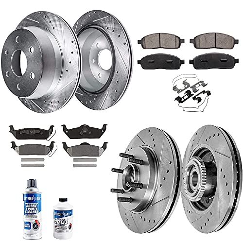Detroit Axle - Front and Rear Drilled & Slotted Rotors Ceramic Brake Pads...