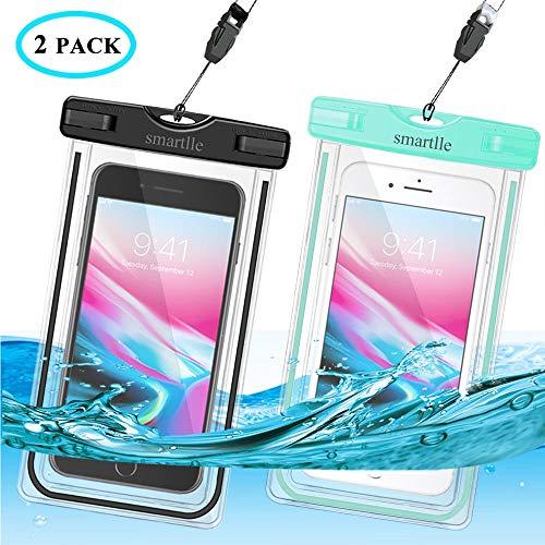 smartlle wasserdichte Handyhülle Tasche Beutel 2 Stücke, Handy Hülle Wasserdicht, Staubdichte Schutzhülle für iPhone X XR XS XS MAX,8/7/6s Plus,6 5 5c 5s,Galaxy S9 S8 S7 S6 S5 S7 Edge S6 Edge usw.