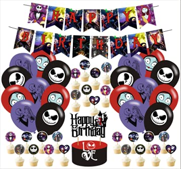 Nightmare Before Christmas Party Supplies,Nightmare Before Christmas Inspired Birthday Party Decorations Includes Banner - Cake Topper - 24 Cupcake Toppers - 18 Balloons