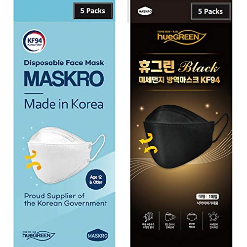 [10Pack_5White+5Black] KF94 Face Mask, Premium 4Layer Korean Filter, Comfortable and Breathable Disposable Face Mask - [MADE IN KOREA]