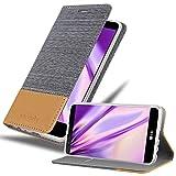 Cadorabo Hülle für LG Stylus 2 - Hülle in HELL GRAU BRAUN – Handyhülle mit Standfunktion & Kartenfach im Stoff Design - Case Cover Schutzhülle Etui Tasche Book