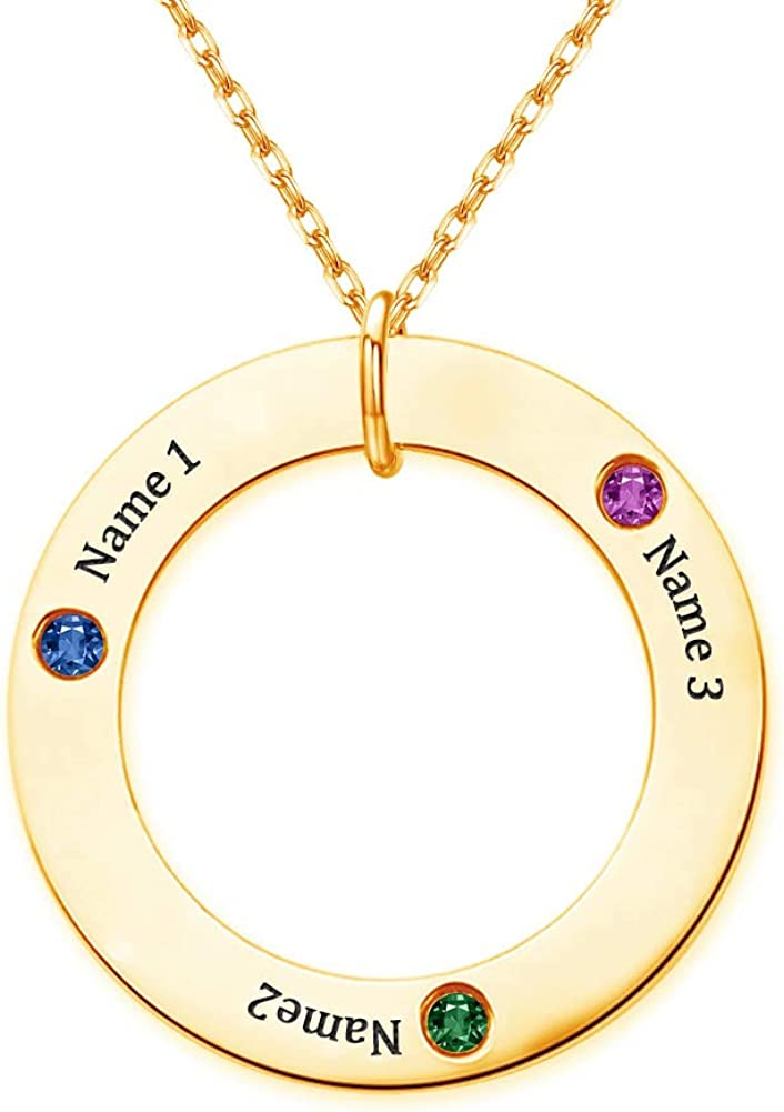 DesignForYou Personalized Family Names Necklace with Birthstones Custom Circle Nameplate Necklace Jewelry Gift for Mother