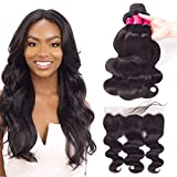 VRVOGUE Unprocessed Brazilian Weave Hair (12' 14' 16') Body Wave Human Hair Bundles With Frontal Lace 12 Inch Ear To Ear Free Part 13x4 for Lace Frontal Wigs Body WaveNatural Black-130% Density