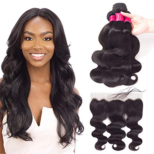 """VRVOGUE Weave Hair (22"""" 24"""" 26"""") Body Wave Brazilian Human Hair Bundles With Lace Frontal 20 Inch for 13x4 Ear To Ear Lace Frontal Human Hair Wigs Body Wave (Natural Black-130% Density)"""