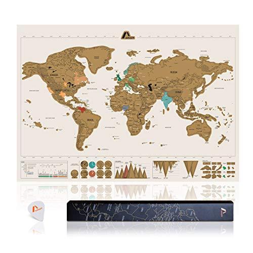 Amazy Weltkarte zum Rubbeln XXL inkl. Rubbelchip + Gratis-Packliste (PDF) – Große Rubbel-Landkarte als schöne Erinnerung an bisherige Reisen | Made in Germany (Weiß | 84 x 59 cm)