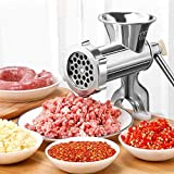 HONGTAO Manual Aluminum Alloy Meat Grinder with Tabletop Clamp Sausage Pasta Maker Pepper Spice...