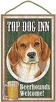 TOP DOG INN サインボード:ビーグル ビール好きバー看板 ウッドボード製 BEER BAR MADE IN U.S.A [並行輸入品]