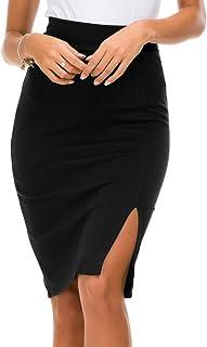 Urban CoCo Women's Elastic Waist Side Slit Hem Bodycon Pencil Skirt