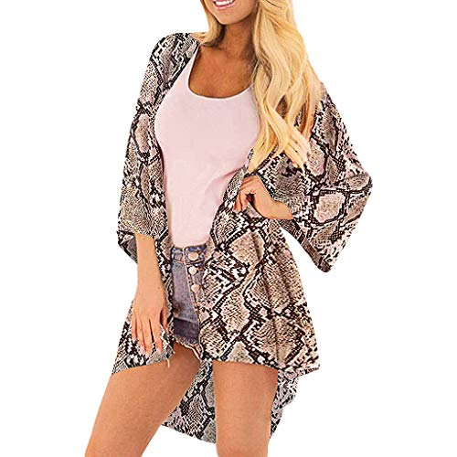 IHEHUA Damen Chiffon Floral Kimono Leicht Sommer Cardigan 3/4 Arm Beach Cover Up Boho Strand Tops Shawl Bluse Beachwear Bikini Leichte Jacke Oberteil(A-Khaki,XL)