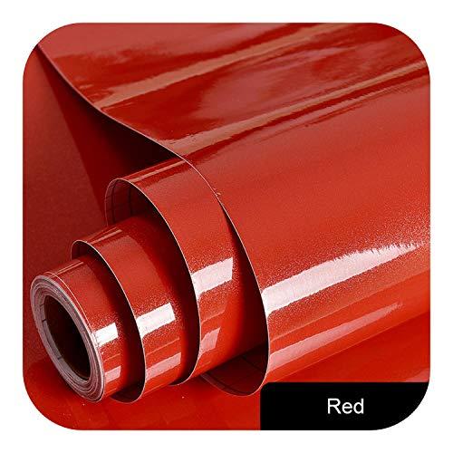 Wohnzimmer Wanddekorationen, Schrank Kleiderschrank Tür Schreibtisch Möbel Renovierung Aufkleber Reine Farbe Küche Öl Proof Badezimmer Wasserdicht Selbstklebende Tapete-Rot-5mx60cm