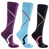 Laulax 3paires de Longues Chaussettes mi-bas de ski pour femme toucher cachemire, taille 36 - 40, boîte cadeau, Violet, Bleu, Noir