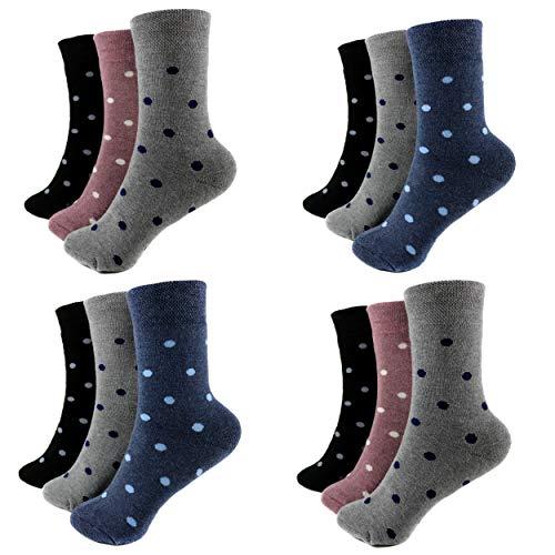 HighClassStyle 6 Paar Damen Thermo Socken Warme Mädchen Strümpfe Baumwolle Gr. 35-42 Verschiedene Modelle (39-42, Punkte (D-31))