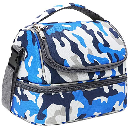 FlowFly Kids Lunch Box Double Decker Cooler Insulated Lunch Bag Large Tote for BoysGirlsMenWomen With Adjustable StrapBlue Camo
