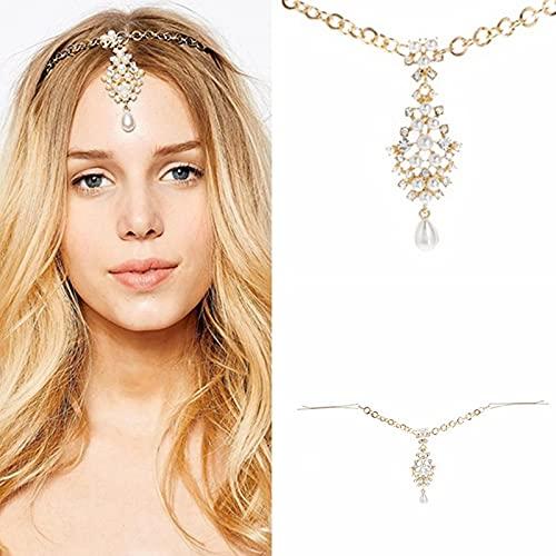 XKMY Chaîne de tête pour femme - Bijou de cheveux de mariage indien avec strass et perles
