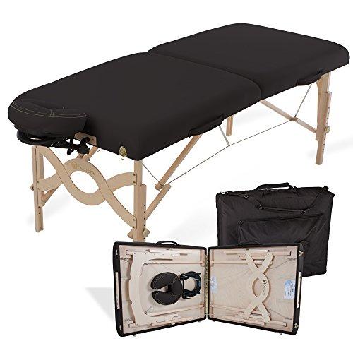 "EARTHLITE Portable Massage Table Package AVALON – Reiki Endplate, Premium Flex-Rest Face Cradle & Strata Cushion, Carry Case (30""x73""), Flat, Black"