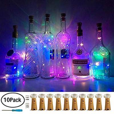 10 Pack Bottle Cork Lights 10 LED Wine Bottle Battery Powered Lights Copper Wire Fairy String Light for Christmas Halloween Wedding Birthday Party DIY Home Decor