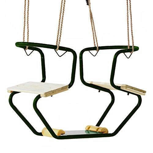 WICKEY dubbele schommel schommelbank metaal club schommelstoel, 920x440x530mm, metaal, groen