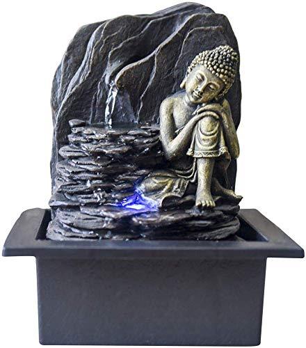 Zen Light Saoun Zimmerbrunnen mit Pumpe und LED-Beleuchtung, Kunstharz, Einheitsgröße