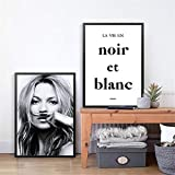 Danjiao Kate Moss Moustache Fashion Poster Leinwand