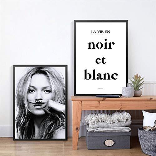 Danjiao Kate Moss Moustache Fashion Poster Leinwand Kunstdrucke Frau Portrait Prints Wandkunst Bilder Home Fashion Wall Decor 2St Wohnzimmer 40x60cm