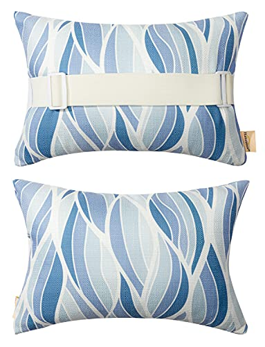 Outdoor Pillow for Chaise Lounge Chair, Sunbrella Head Support Pillow for Car Driving Neck or Lumbar Resting Waterproof with Adjustable Elastic Stripe for Garden Furniture Decorative 2Pack