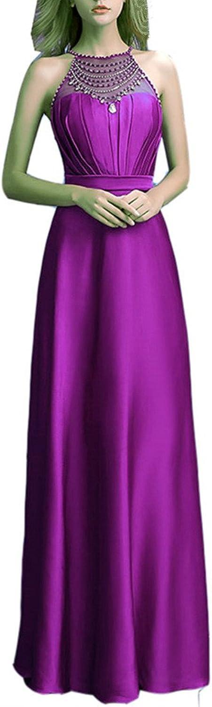 Emmani Women's Halter Crystal Rhinestone Beading Long Formal Evening Dresses