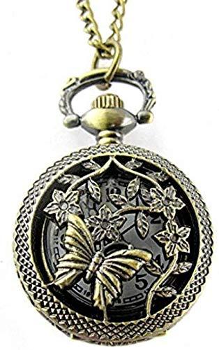 Aluyouqi Co.,ltd Reloj de Bolsillo Retro Bronce Reloj de Bolsillo Perforado de Cuarzo con Mariposa y...