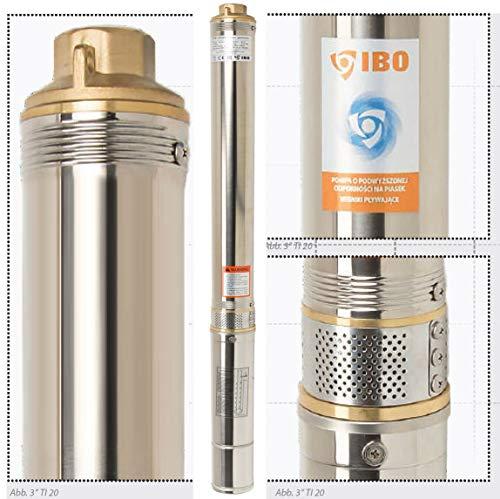 Tiefbrunnenpumpe Tauchpumpe 3 Zoll Sandverträglich mehrstufige 550W Brunnen Pumpe 3000 l/h