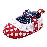 0-18 Meses,SO-buts Infantil Recién Nacido Bebés Niñas Zapatos De Princesa con Suela Suave con Nudo En El Arco Primeros Zapatos para Caminar Antideslizantes para Bebés (Rojo,0-6 Meses)