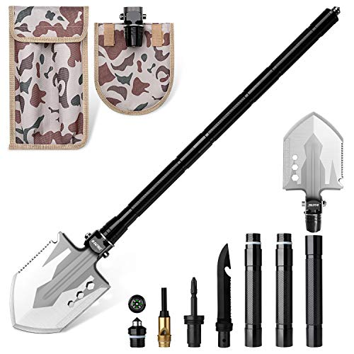 G4Free Camping Shovel,Survival Shovel Multitool,Military Folding Shovel,Tactical Shovel,Camping Multifunctional Shovel 20 in 1 Survival Tools Shovel for Off Roading,Camping,Hiking,Emergency(Silver)