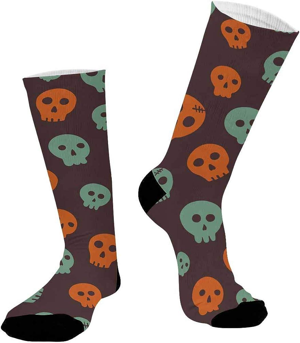 INTERESTPRINT Unisex Running Hiking Dress Athletic Crew Socks Halloween Skull