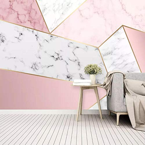 Papel pintado fotográfico autoadhesivo moderno simple abstracto geométrico mármol rosa foto murales sala de estar dormitorio impermeable 3D pegatina-260254cm