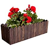 JINBAO Jardinera para Balcón, Jardinera De Madera Maciza, Protección UV, Marrón, Diferentes Tamaños, Jardinera Cuadrada Profunda para Balcón Exterior
