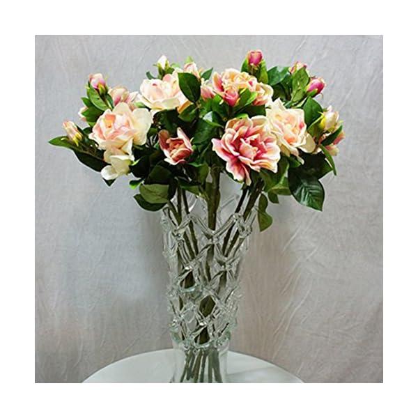 lamta1k 1Pc 3 Cabezas Artificial Flower Gardenia Colores Vibrantes con un Toque Natural Aspecto de la Boda. Decoraci¨®n…