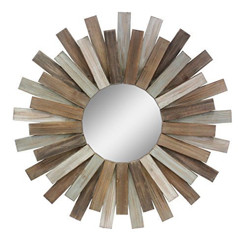 "Stonebriar Large Round 32"" Wooden Sunburst Hanging Wall Mirror with Attached Hanging Bracket, Decorative Rustic Decor for the Living Room, Bathroom, Bedroom, and Entryway"
