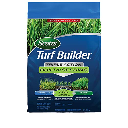 Scotts Turf Builder Triple Action Built For Seeding: Covers 4,000 sq. ft., Feeds New Grass, Lawn Weed Control, Prevents Crabgrass & Dandelions, 17.2 lbs.
