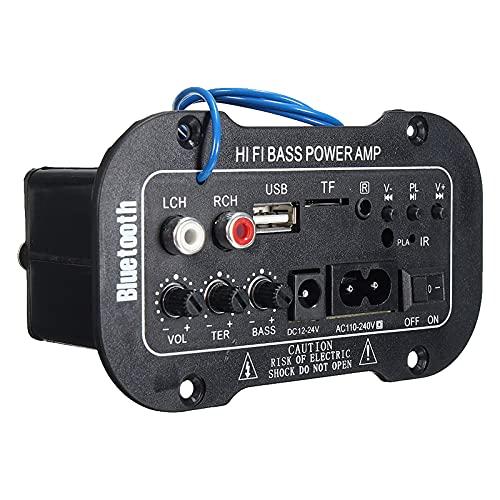 Mini Amplificador Bluetooth Amplificador Audio,HiFi Audio Estéreo de 2 CH BT FM Radio Portátil Auto Home 50 W, Mando a Distancia Audio Amplificador