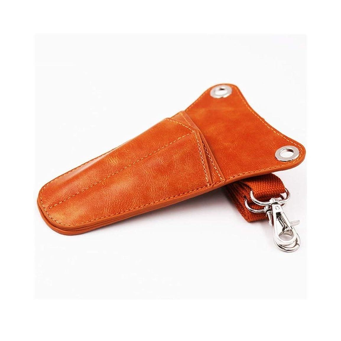 通知洗剤現金JPAKIOS プロのサロン革髪はさみ鋏ホルスターポーチ2ポケット散髪ツールバッグ (色 : オレンジ)