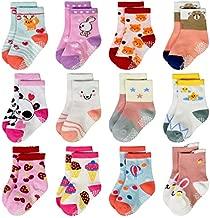 Infant Toddler Baby Anti Slip Socks Non Skid?Ankle Grips Sticky Slipper Socks for Kids Boys Girls (04 Ice Cream Style(12 pairs), 3-5T)