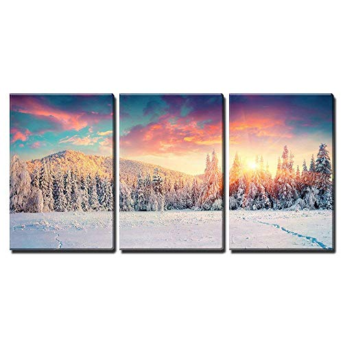 wall26 - 3 Piece Canvas Wall Art - Colorful Winter Panorama in The Carpathian Mountains. Fir Trees Covered Fresh Snow - Modern Home Art Stretched and Framed Ready to Hang - 24'x36'x3 Panels