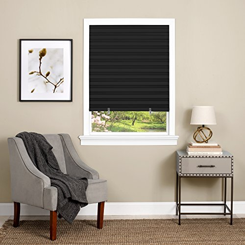 "Achim Home Furnishings 123CO36B24  Cordless 1-2-3, 36"" x 75"", Black Vinyl Room Darkening Pleated Window Shade"