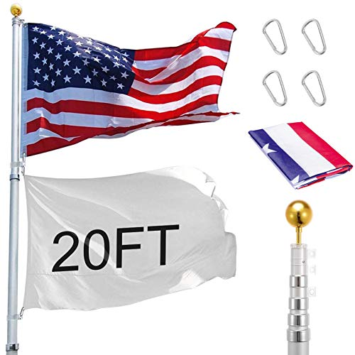 Voilamart 20ft Telescopic Flag Pole Heavy Duty Aluminum Telescoping Flagpole Kit with 3x5 US Flag Golden Ball Top for Commercial Residential Outdoor Use, Fly 2 Flags